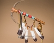 "Native American Feather Draped Antler Medicine Stick 18""  (s108)"