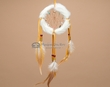"Native American Rabbit Fur Dreamcatcher 4"" -White  (6-51)"