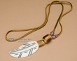 Native American Bone Feather Necklace -Purple  (36)