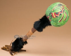 "Tarahumara Indian Gourd Rattle 17"" -Kokopelli  (r11b)"