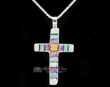 "Native American Indian Silver Necklace 20"" -Zuni Cross  (117)"