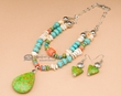 "Native American Style Necklace & Earring Set 16""  (35)"