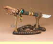 "Native American Creek Knife & Antler Stand 19"" -Eagle  (k101)"