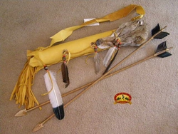 Native American Leather Coyote Quiver w/ Arrows