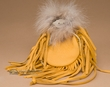 "Coyote Fur & Deer Skin Medicine Bag 4.5"" -Navajo  (b90)"