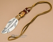 Navajo Indian Bone Feather Necklace -Maroon  (153)