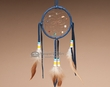 "Native American Navajo Dreamcatcher 4"" -Blue  (4-9)"