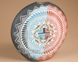 "Navajo Etched Flat Pottery Vase 11"" -Sun Face  (p69)"