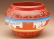 "Native American Navajo Etched Vase 4"" -Monument (p213)"
