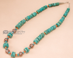 "Native American Navajo Turquoise & Bronze Necklace 23.5"" (151)"