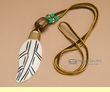Native American Bone Feather -Green  (177)