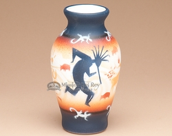 "Native American Navajo Pottery Vase 6.75"" -Kokopelli  (v203)"