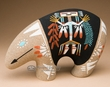 Native American Navajo Sand Painted Pottery -Bear  (p640)