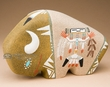 Native American Navajo Sand Painted Pottery -Buffalo  (p642)