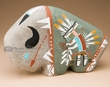 Native American Navajo Sand Painted Pottery -Buffalo  (p643)