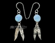 Native American Navajo Silver Earrings -Opal & Feathers  (ij289)