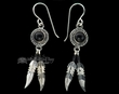 Native American Navajo Silver Earrings -Black Onyx  (ij290)