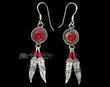 Native American Navajo Silver Earrings -Red Coral  (ij291)
