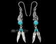 Navajo Indian Silver Earrings -Turquoise Wolf  (ij292)