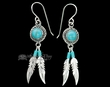 Native American Navajo Silver Earrings -Turquoise  (ij293)