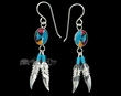 Navajo Silver Inlaid Earrings -Feathers  (ij294)