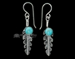Native American Navajo Silver Earrings -Turquoise Feathers  (ij295)