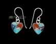 Navajo Silver Inlaid Earrings -Hearts  (ij296)