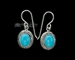 Native American Navajo Silver Earrings -Turquoise  (ij298)