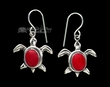 Native American Navajo Silver Earrings -Coral Turtles  (ij299)