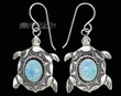 Navajo Indian Silver Earrings -Opal Turtles  (ij301)