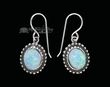 American Indian Navajo Silver Earrings -Opal  (ij302)