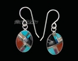 Native American Navajo Inlaid Silver Earrings  (ij303)
