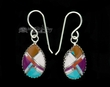 Native American Navajo Silver Inlaid Earrings  (ij304)