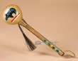 """Native American Painted Rawhide Rattle 8"""" - Bear  (190a)"""