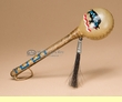 """Native American Painted Rawhide Rattle 8"""" -Buffalo  (rs6)"""