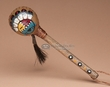 "Native American Painted Rawhide Rattle 8"" -Sunface  (189a)"