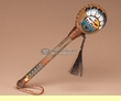 """Native American Painted Rawhide Rattle 8"""" -Sunface  (189a)"""