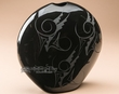 "Native American Pillow Vase 11""x11.5"" Black On Black  (p356)"