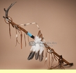 "Native American Pueblo Indian Antler Medicine Staff 40""   (1br)"