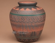 "Native American Pottery Vase 9.25"" -Etched  (122)"