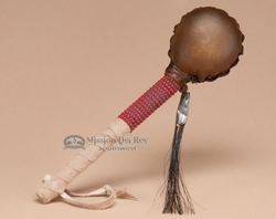 "Native American Rawhide Rattle 6"" -Red Beading  (r176)"