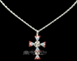 "Native American Silver Cross Necklace 20""  (ij235)"