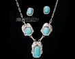"Silver Indian Necklace & Earring Set 17"" -Turquoise  (ij212)"