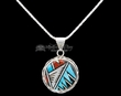 "Native American Silver Pendant Necklace 20""  (ij224)"
