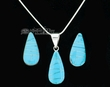 Navajo Silver Pendant Necklace & Earrings -Turquoise  (ij227)