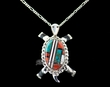 Native Zuni Inlaid Silver Pin/Pendant Necklace -Turtle  (ij227)