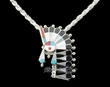 "Zuni Silver Inlaid Headdress Pendant Necklace 18""  (ij232)"