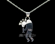 "Native American Silver Pendant Necklace 20"" -Kokopelli  (ij221)"
