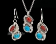"Silver Pendant Necklace & Earring Set 18"" -Navajo  (ij319)"