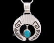 "Native American Silver Pendant Necklace 20"" -Navajo  (ij250)"